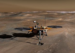An artist concept of Phoenix on Mars.