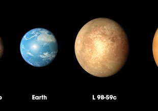 The three planets discovered in the L98-59 system by NASA's Transiting Exoplanet Survey Satellite (TESS) are compared to Mars and Earth in order of increasing size in this illustration.