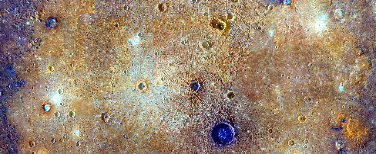 This mosaic of Caloris basin on Mercury is an enhanced-color composite overlain on a monochrome mosaic.
