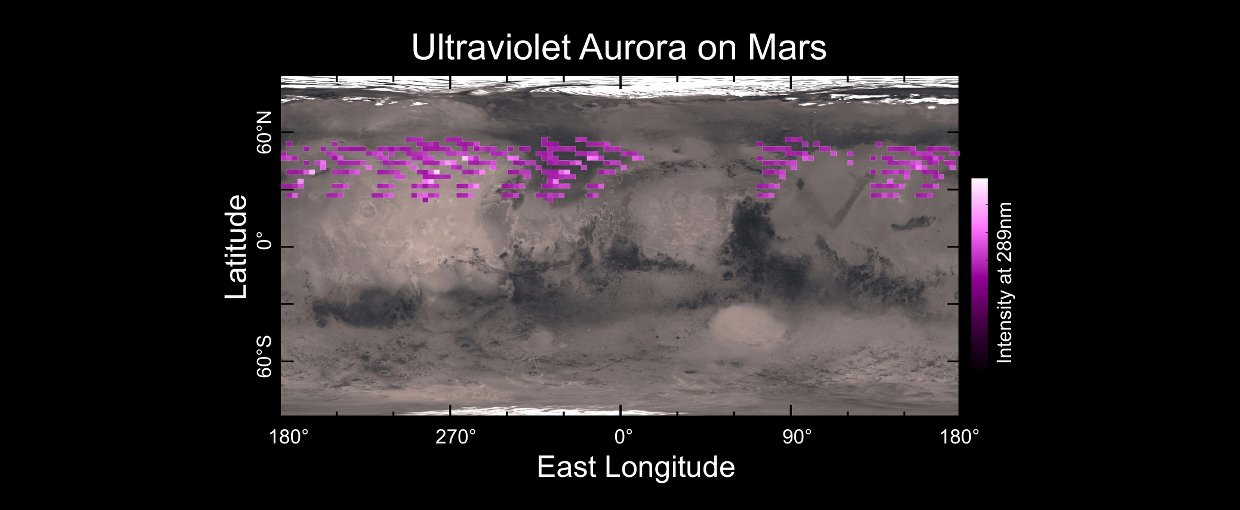 A map of MAVEN's Imaging Ultraviolet Spectrograph (IUVS) auroral detections in December 2014 overlaid on Mars' surface.