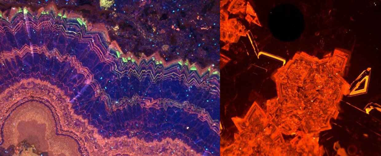 Cathodoluminescence image of dolomite marine cements showing well-preserved chemical zonation(left). Photo of Devonian shallow marine carbonates under cathodoluminescence (right).