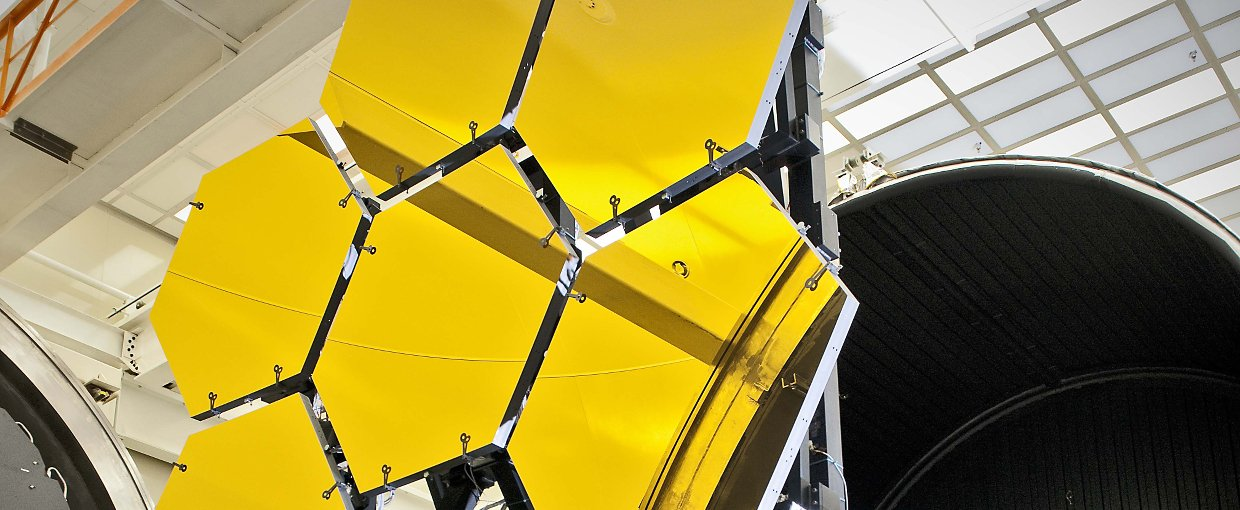 The first six flight ready James Webb Space Telescope primary mirror segments are prepped to begin final cryogenic testing at NASA's Marshall Space Flight Center in Huntsville, Ala. Credit: NASA/Chris Gunn