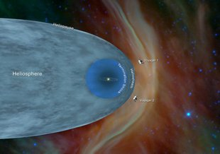 The Space Between: This artist's concept shows the Voyager 1 spacecraft entering the space between stars. Interstellar space is dominated by plasma, ionized gas (illustrated here as brownish haze), that was thrown off by giant stars millions of years ago.