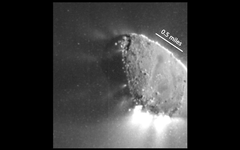 This enhanced image, one of the closest taken of comet Hartley 2 by NASA's EPOXI mission, shows jets and where they originate from the surface. There are jets outgassing from the sunward side, the night side, and along the terminator.