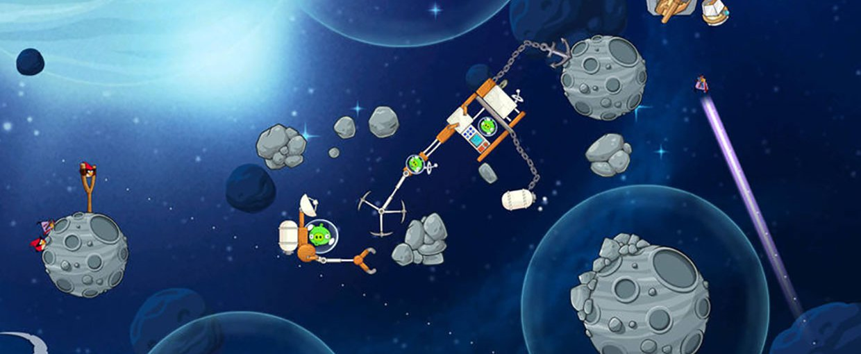 "A screen capture from ""Angry Birds Space"", which includes collaborations with NASA to educate the public about NASA's asteroid-searching activities."