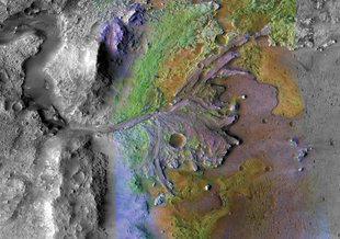 In the Jezero Crater delta, sediments contain clays and carbonates. The image combines information from two instruments on NASA's Mars Reconnaissance Orbiter.
