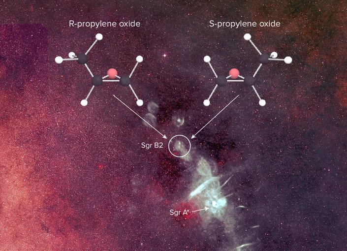 Propylene oxide was detected, primarily with the NSF's Green Bank Telescope, near the center of our Galaxy in Sagittarius (Sgr) B2, a massive star-forming region. Credit: B. Saxton, NRAO/AUI/NSF from data provided by N.E. Kassim, Naval Research Laboratory