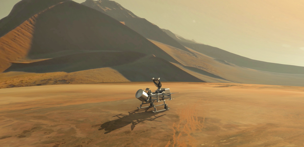 Artist's Impression of Dragonfly on Titan's surface.