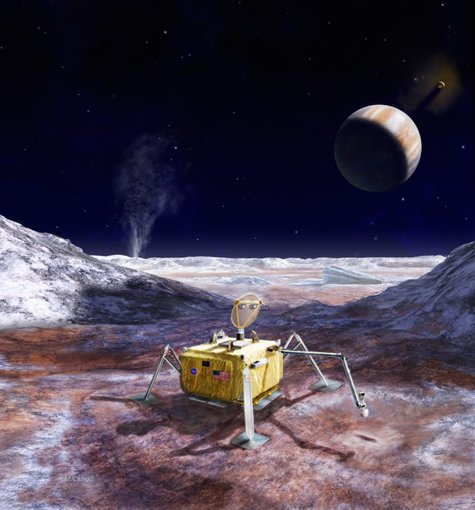 Artist rendering of a potential life-detecting lander mission to Europa that would follow on the Europa Clipper orbiter mission that is scheduled to launch in the 2020s. In the background is Jupiter. (NASA/JPL/Caltech)