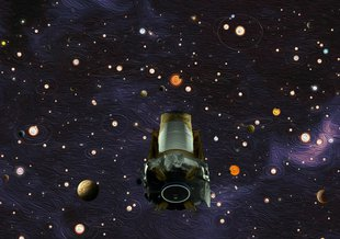 This illustration depicts NASA's exoplanet hunter, the Kepler space telescope.