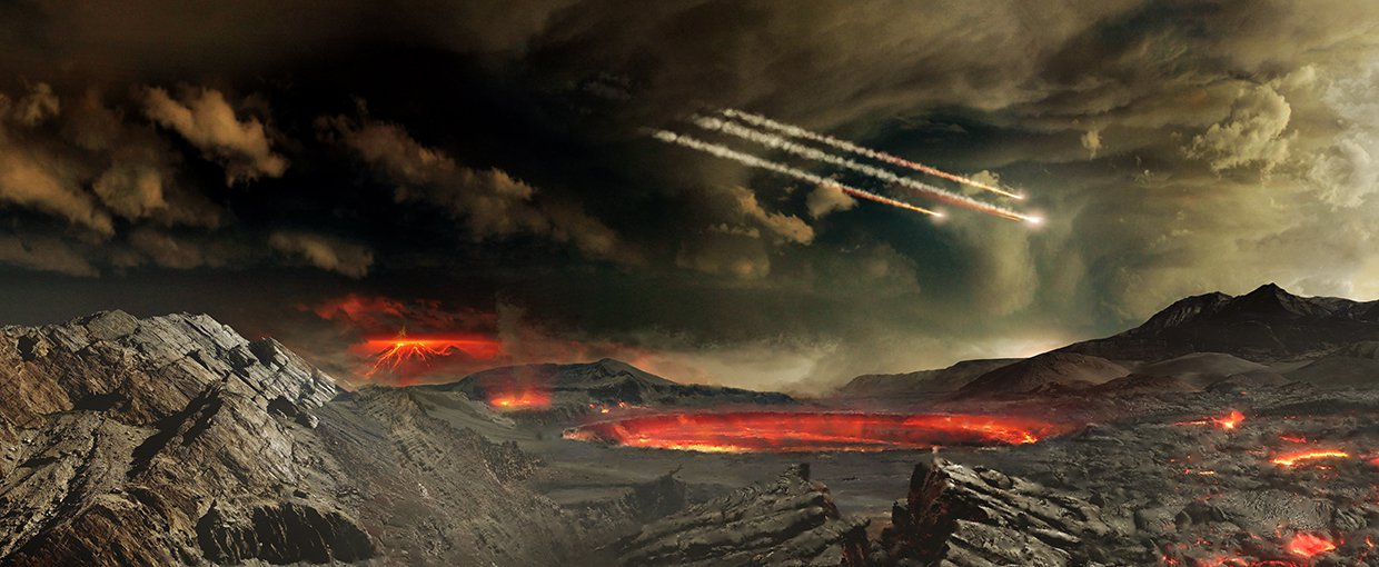 How did the first self-replicating polymers, the precursors of life, come to form on the early Earth around four billion years ago?