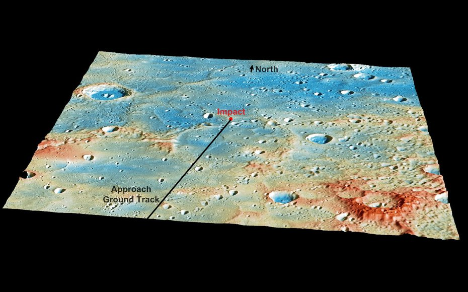 This graphic shows a prediction of the location of MESSENGER's impact on Mercury's surface prior to the completion of the mission.