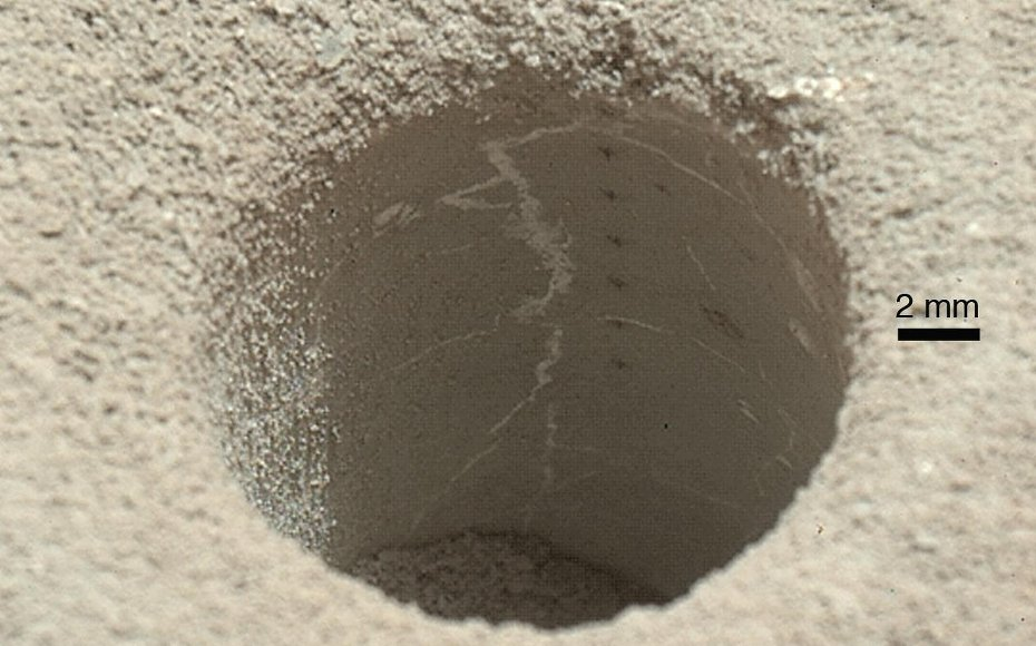 A view into 'John Klein' drill hole in martian mudstone.