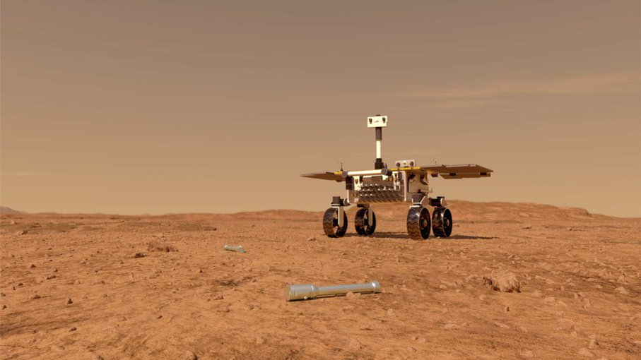 This illustration shows a concept of what a rover fetching rock and soil samples on Mars for return to Earth could look like. The sample tube in this image would have been left on the surface by a previous mission, NASA's Perseverance rover.