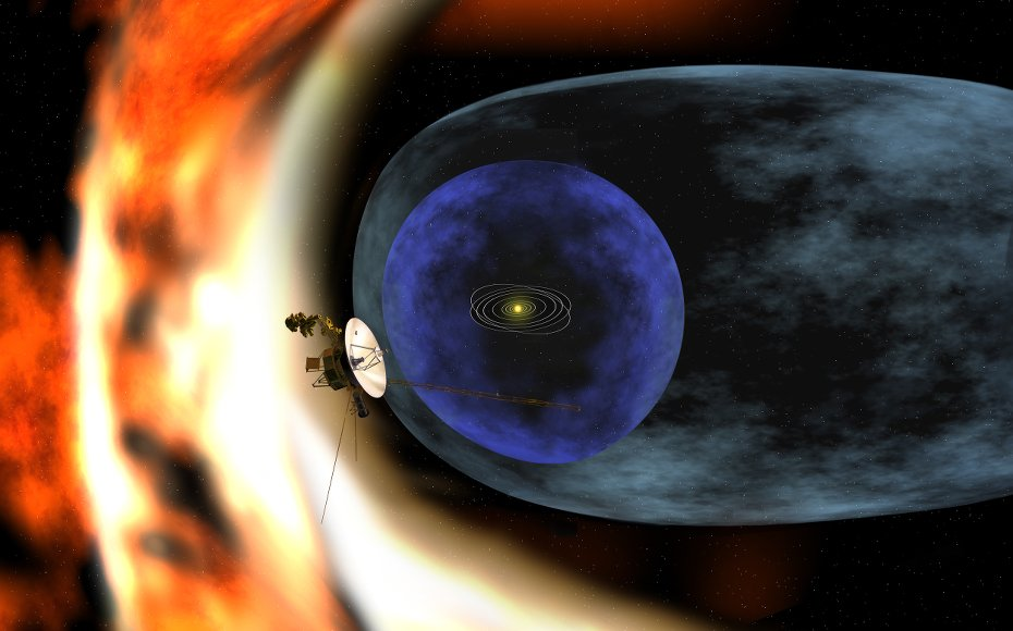 This artist's rendering depicts NASAs Voyager 2 spacecraft as it studies the outer limits of the heliosphere - a magnetic 'bubble' around the solar system that is created by the solar wind.