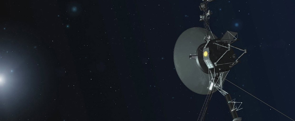 An artist concept depicting one of NASA's twin Voyager spacecraft.