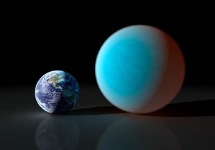 Artist concept contrasting Earth with a planet about twice its size, known as a 'super-Earth.'  This artist representation is of the planet 55 Cancri e.