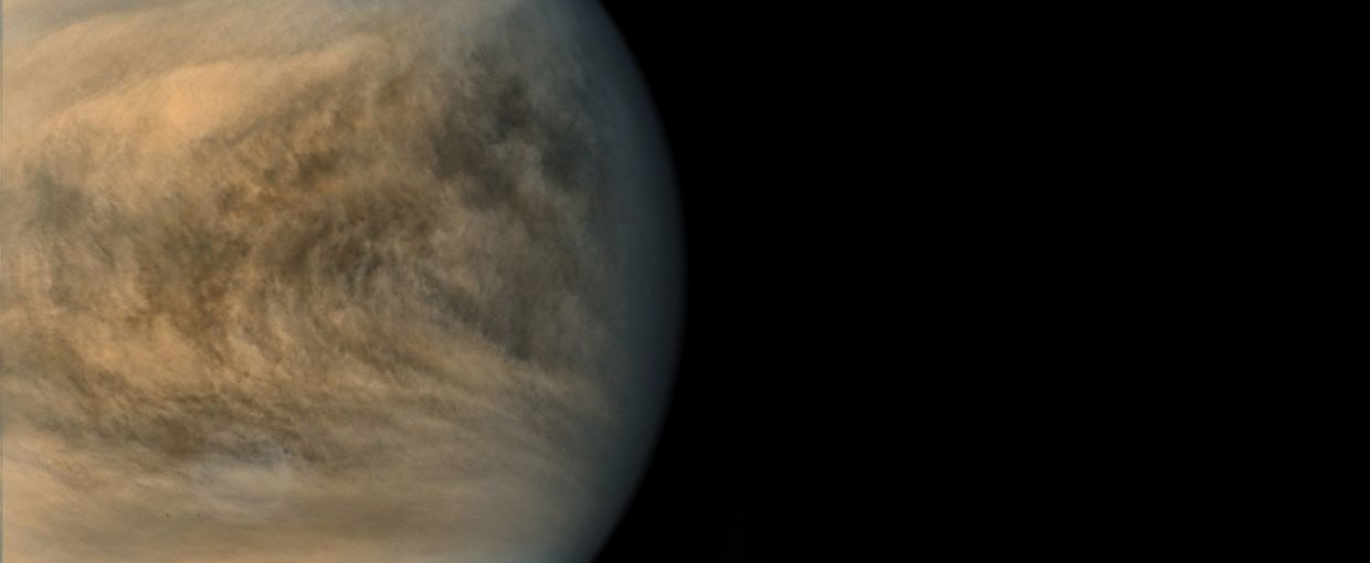 Image of the equatorial region of Venus taken by the Japanese Akatsuki probe. Color changes indicate local variations in the amounts of a little-understood ultraviolet absorber and sulfur dioxide in the atmosphere.