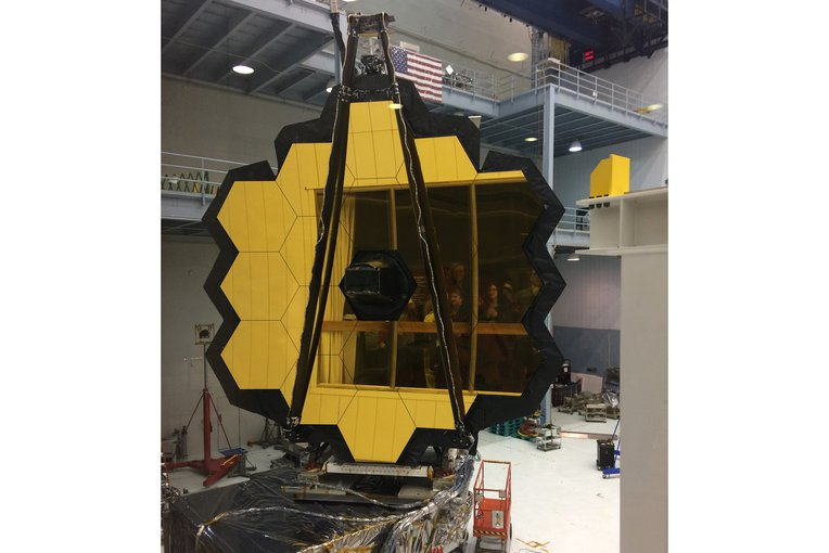 The primary mirror of the James Webb Space Telescope during assembly in a clean room at the NASA Goddard Space Flight Center in Greenbelt, Maryland.