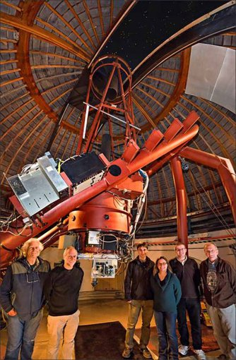 The NIROSETI team with their new infrared detector inside the dome at Lick Observatory. Left to right: Remington Stone, Dan Wertheimer, Jérome Maire, Shelley Wright, Patrick Dorval and Richard Treffers.