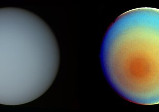 The false-color and contrast-enhanced image of Uranus at right reveals subtle bands of concentric clouds surrounding the planet's south pole.