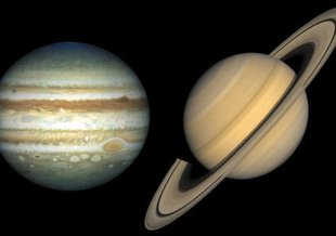 Our solar system's giants, Jupiter (left) and Saturn (right).