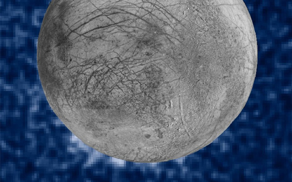 This composite image shows suspected plumes of water vapor erupting at the 7 o'clock position off the limb of Jupiter's moon Europa.