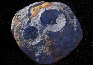 Artist illustration of the asteroid Psyche, which will be the first metal-rich celestial body to be visited by a spacecraft.