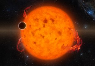 An illustration of Kepler2-33b, , one of the youngest exoplanets detected to date using NASA Kepler Space Telescope. It makes a complete orbit around its star in about five days–meaning that it is almost certainly not habitable.