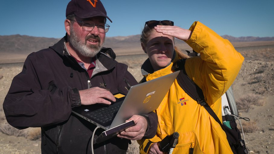 Michael Tuite and Rachel Kronyak of NASA's Jet Propulsion Laboratory served as part of the desert field team, sending images and data for review by scientists who will work with NASA's Perseverance Mars rover.