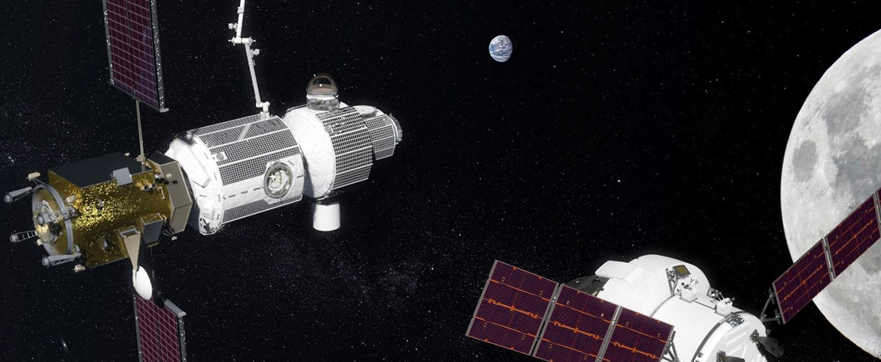 An artist version of a completed Gateway spaceport with the Orion capsule approaching.