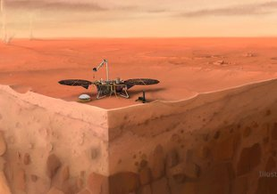 In this artist's concept of NASA's InSight lander on Mars, layers of the planet's subsurface can be seen below, and dust devils can be seen in the background.