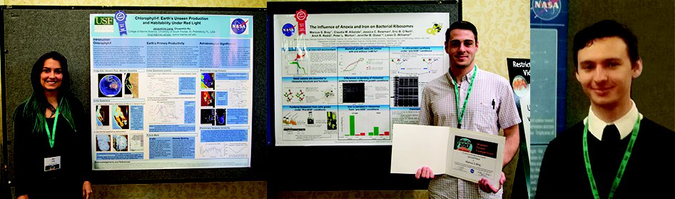 Winners of the student poster competition, Jacqueline Long, Marcus Bray, and Vincent Riggi.