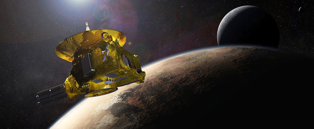 Artist's impression of NASA's New Horizons spacecraft, the first scientific investigation to obtain a close look at Pluto and its moons. New Horizons was a mission developed through NASA's New Frontiers Program.