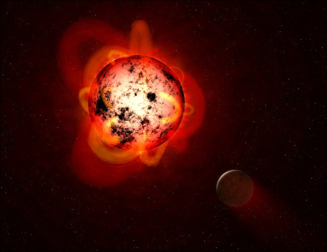 Even though a planet orbiting a red dwarf might be in the habitable zone, allowing liquid water to exist on its surface, ultraviolet radiation from the star could affect the chemistry of the planet's atmosphere.