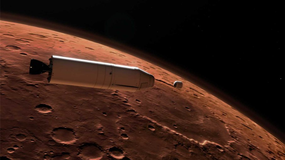 This illustration shows a concept for a Mars Ascent Vehicle (left) releasing a sample container (right) high above the Martian surface. A rocket will carry a container of sample tubes with martian rock and soil samples into orbit around Mars and release i