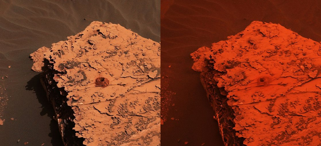 "Two images (Sol 2058 (left); Sol 2084 (right)) of the ""Duluth"" drill site from the Mast Camera (Mastcam) on NASA's Curiosity rover depict the change in the color of light illuminating the surface since a dust storm engulfed Gale Crater."
