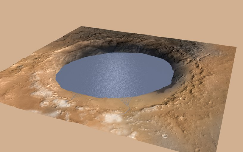 An illustration showing how the lake in the crater might have looked.
