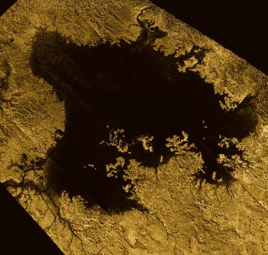 A methane lake near the northern pole of Saturn's moon, Titan. The image was taken using radar on the Cassini spacecraft.