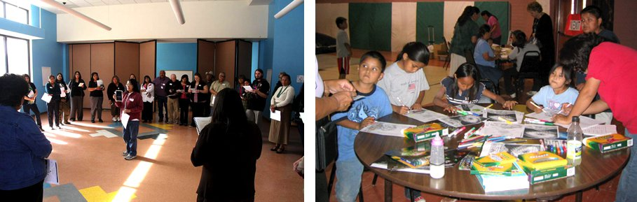 Left: Teachers in a 2012 workshop in Window Rock, AZ perform the Cycles in the Cards activity. Right: Children and their parents work with the Exploring Stories Through Art activity at a Community Night in Cameron, AZ in 2006.  Image credits: NASA.