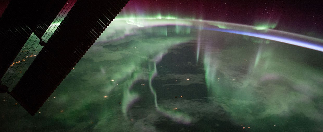 Aurora borealis image that a member of the Expedition 53 crew took on Sept. 15, 2017, from the International Space Station. These lights were seen over Canada while the station was near the highest point of its orbital path.