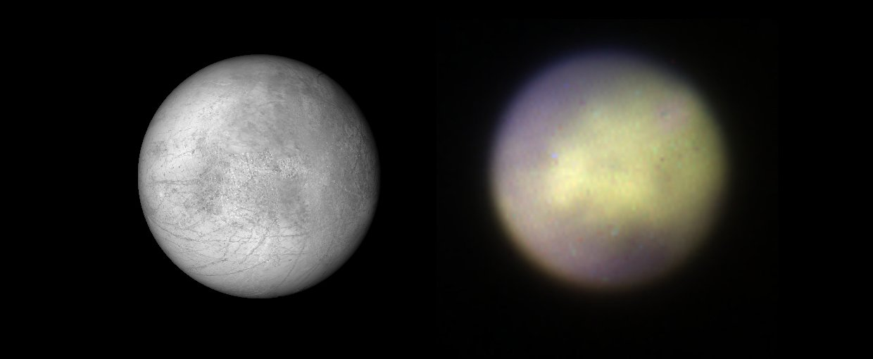 Comparison of Europa observed with Gemini Planet Imager in K1 band on the right and visible albedo visualization based on a composite map made from Galileo SSI and Voyager 1 and 2 data (from USGS) on the left.