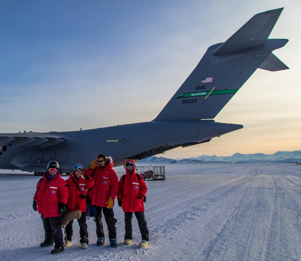 Expeditions to Antarctica do not come cheap, with the SIMPLE team flying there on a Boeing C-17 transport plane. Britney Schmidt is seen on the far left.