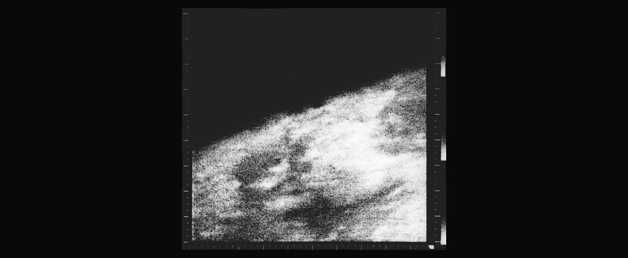 The first close-up image of Mars, from the Mariner 4 spacecraft. Credit: NASA