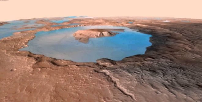 Rendering of Gale Lake some 3.5 billion years ago, when Mars was warmer and much wetter. The Curiosity mission is finding that rocke in Gale Crater changed by water everywhere. (Evan Williams, with data from the Mars Reconnaissance Orbiter HIRISE project)