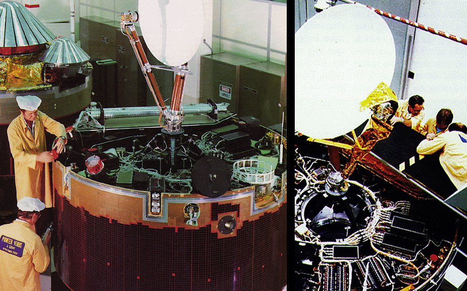 The two Pioneer Venus probes prior to launch. The Pioneer Venus Orbiter is in the foreground with the Pioneer Venus Multiprobe in the background (left). Pioneer Orbiter in the assembly room (right).