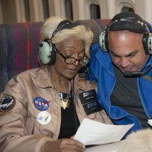 During the Sept. 15 flight, Nichelle Nichols, left, and Jeffrey Killebrew, teacher at the New Mexico School for the Blind and Visually Impaired, discuss wording for the message Nichols was going to send from the stratosphere to the school's students.