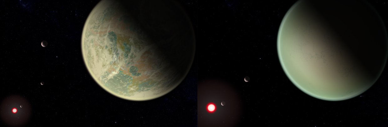Conceptual image of water-bearing (left) and dry (right) exoplanets with oxygen-rich atmospheres. Crescents are other planets in the system, and the red sphere is the M-dwarf star around which the exoplanets orbit.