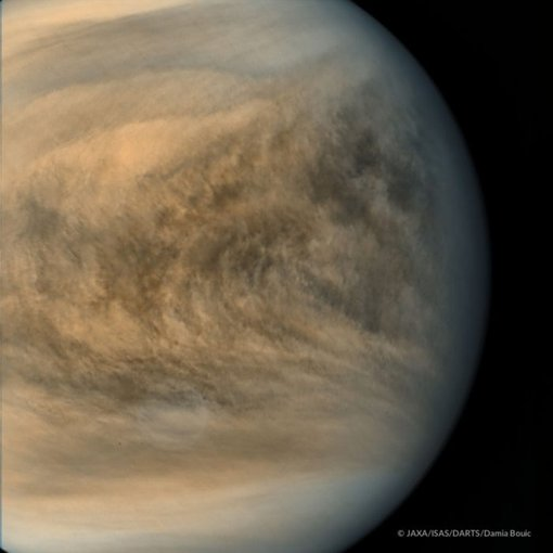Image of Venus equatorial region from the Japanese Akatsuki probe. Color changes indicate local variations in the amounts of a little-understood ultraviolet absorber and sulfur dioxide in the atmosphere.