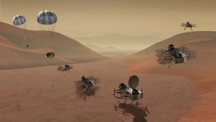 Dragonfly is a quadcopter lander that would fly to locations on Titan hundreds of miles apart. It would sample materials and determine the composition of the surface.  One goal would be to analyze Titan's organic chemistry and assess its habitability.